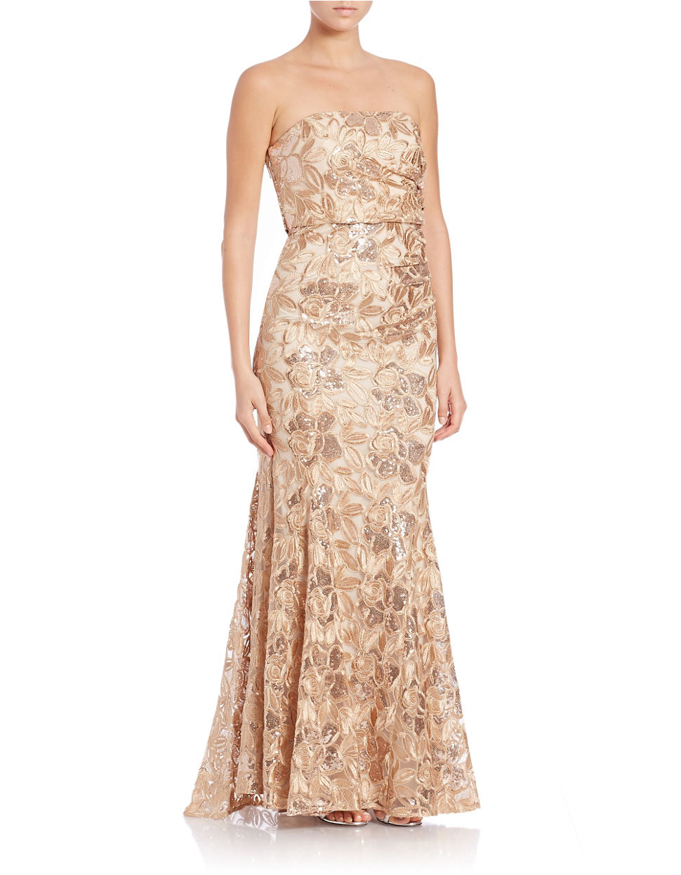Lyst - Belle By Badgley Mischka Sequined And Floral Lace Gown in ...