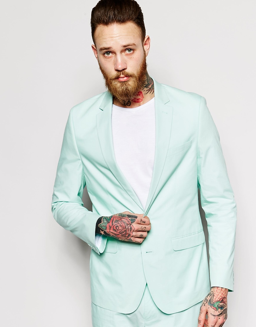 Asos Slim Fit Suit Jacket In Poplin in Green for Men | Lyst