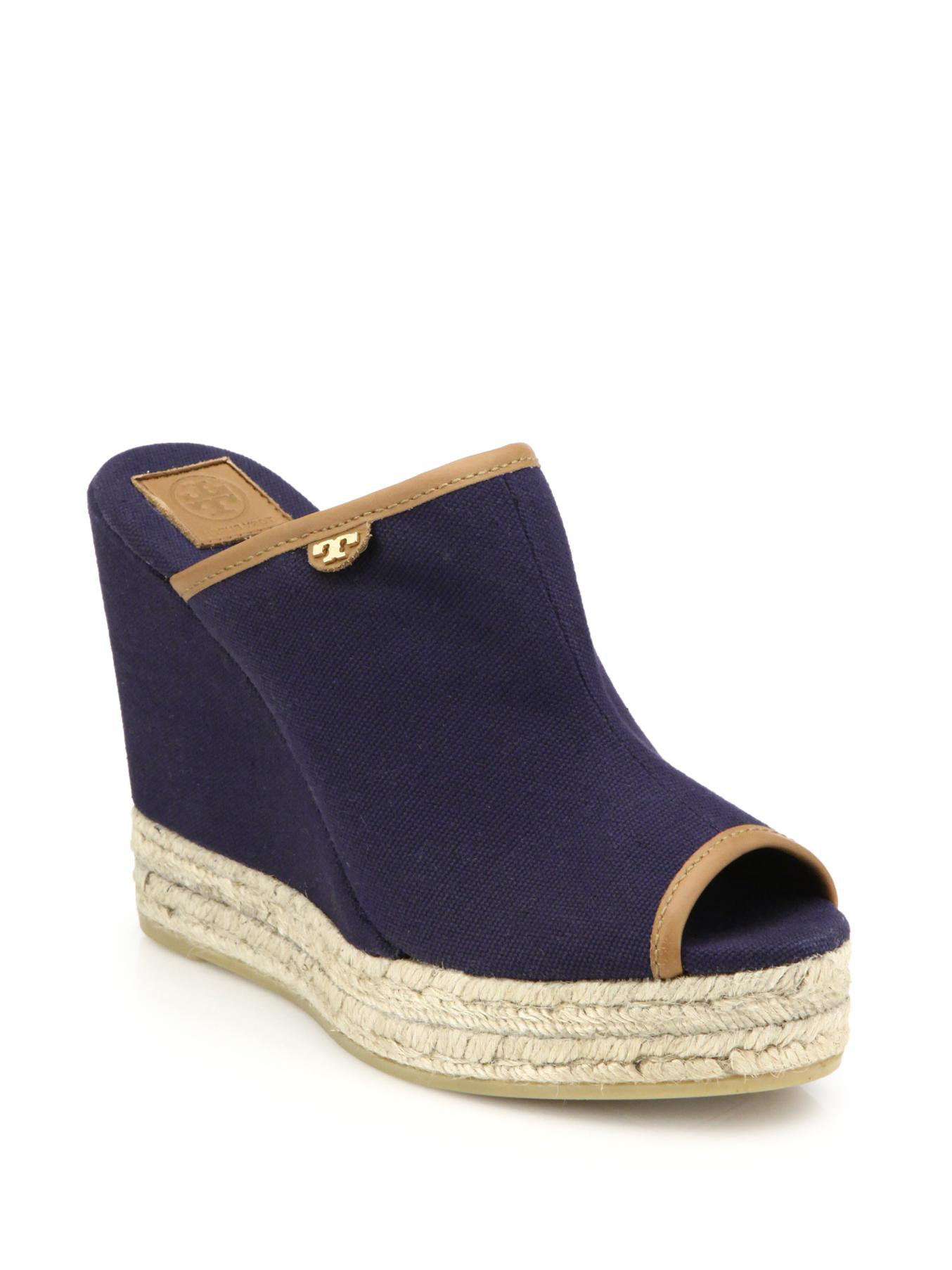 4585e3b582afb Lyst - Tory Burch Canvas   Espadrille Wedge Mule Sandals in Blue