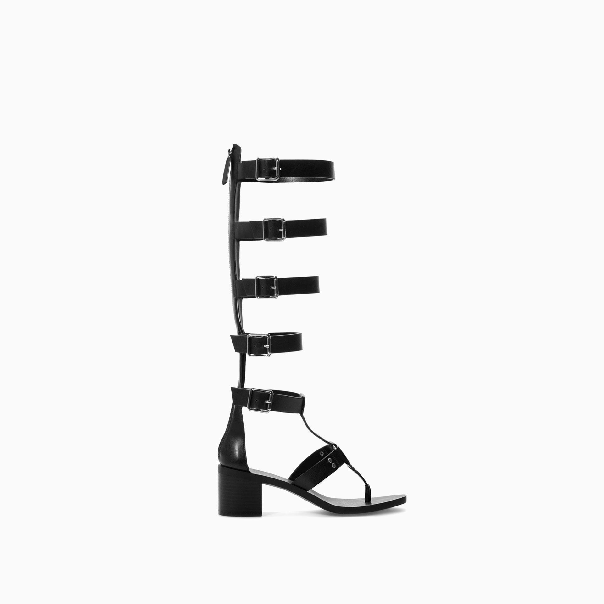 Zara Knee High Gladiator Sandal in Black | Lyst