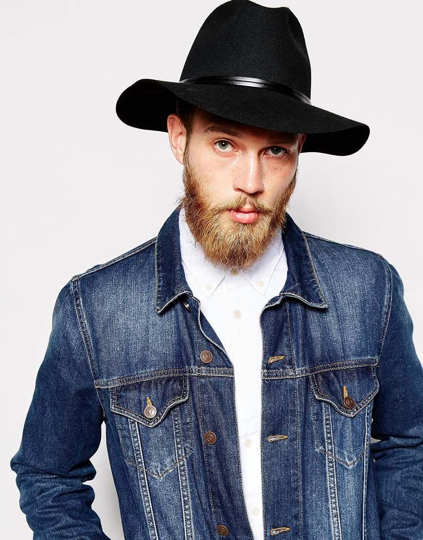Lyst - Catarzi Wide Brim Unstructured Fedora Hat in Black for Men d194ebbf2fd