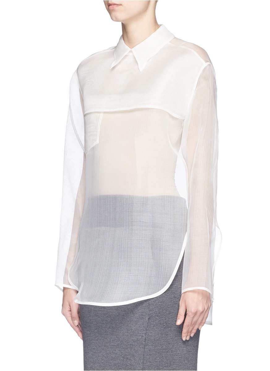 234cd5e12092f2 Lyst - Acne Studios  tino  Sheer Organza Blouse in Natural