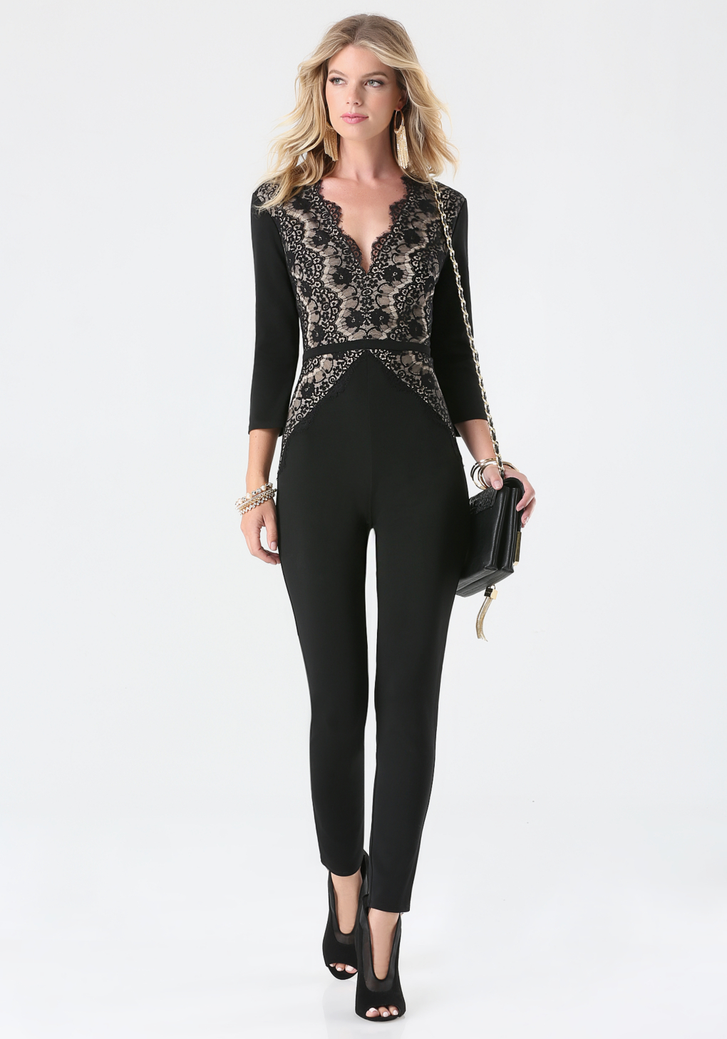 Bebe Petite Magda Lace Jumpsuit in Black | Lyst