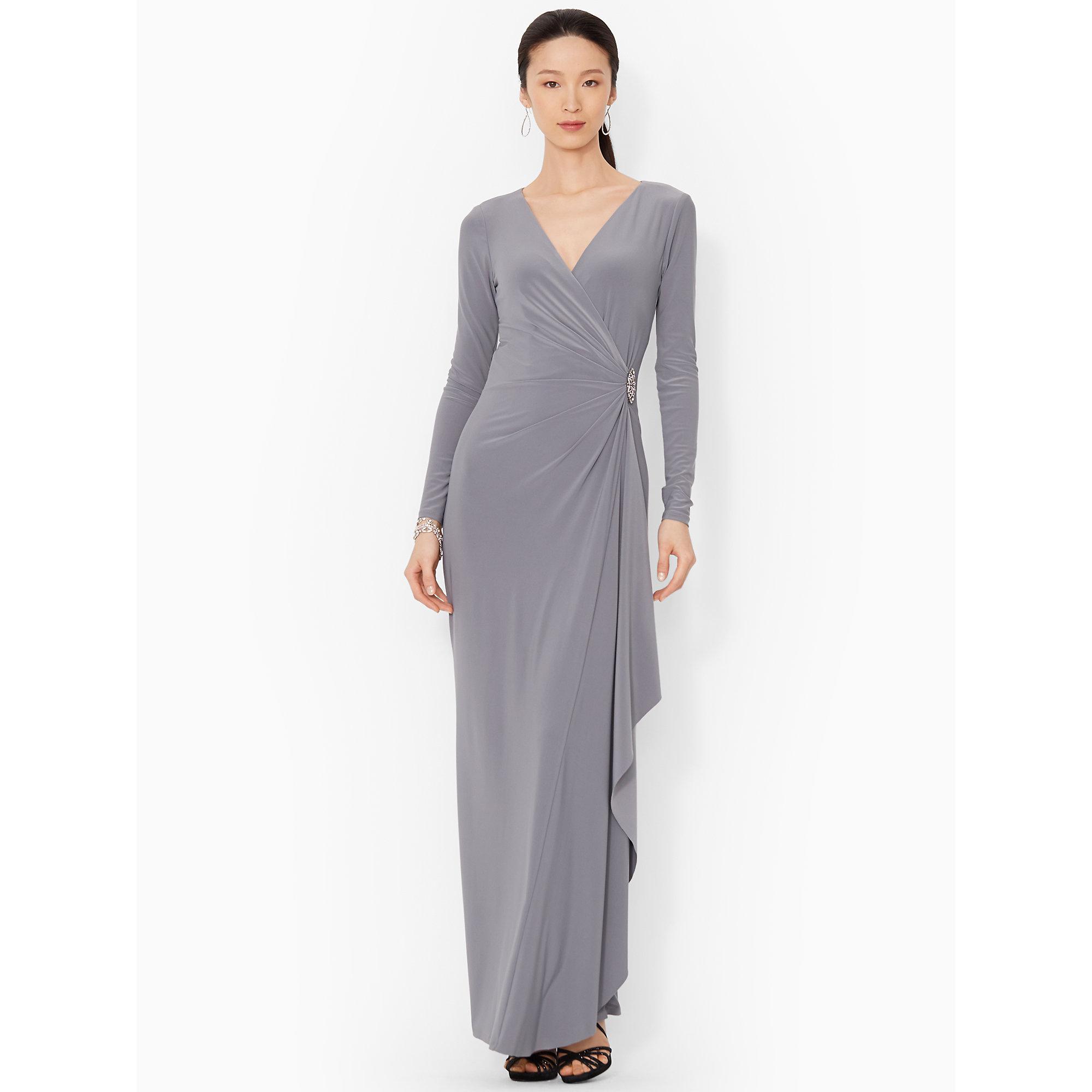 Lyst - Lauren By Ralph Lauren Surplice Jersey Gown in Gray