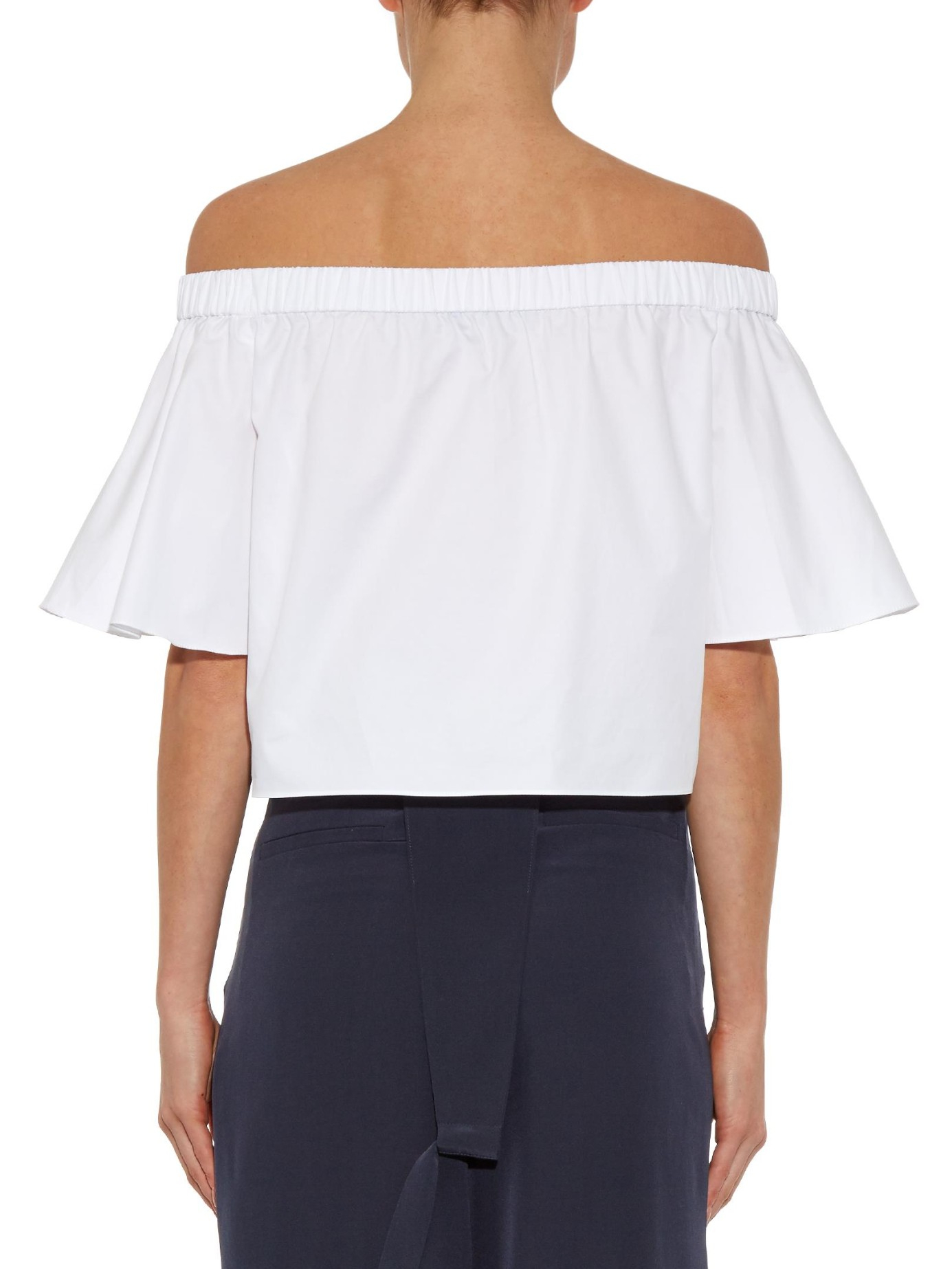 cd023534553901 Tibi Off-The-Shoulder Cotton Top in White - Lyst