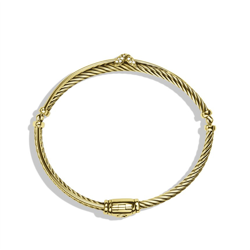 david yurman x crossover bracelet with diamonds in gold in
