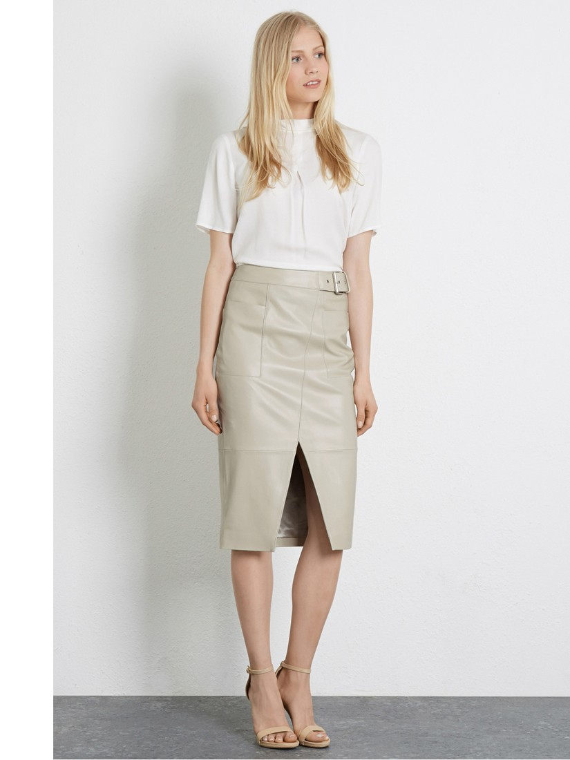 Warehouse Wrap Front Leather Skirt in Natural | Lyst