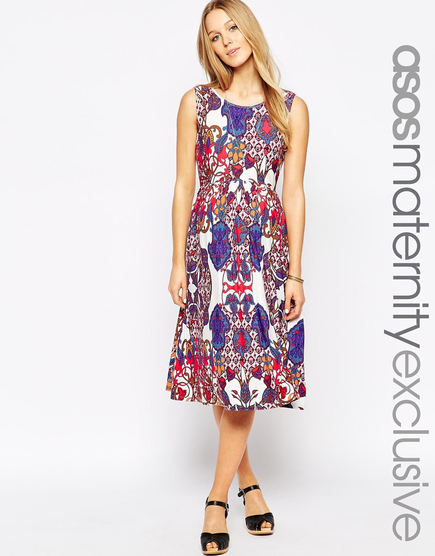 Asos midi skater dress with wrap back in 70s paisley lyst gallery ombrellifo Choice Image