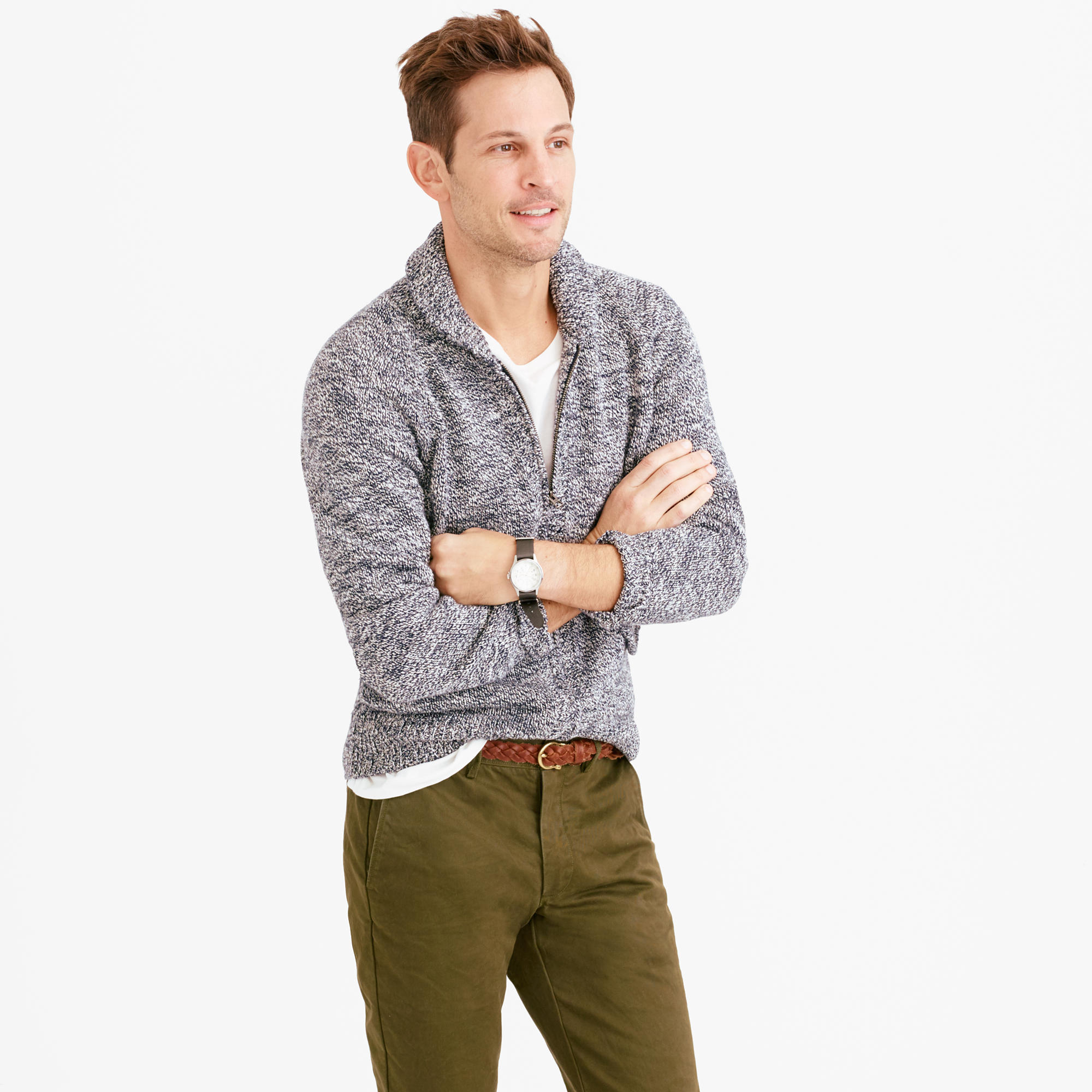 J.crew Marled Cotton Full-zip Sweater in Blue for Men | Lyst