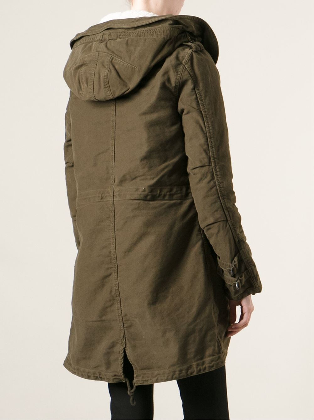 maison scotch hooded full lined parka in green lyst. Black Bedroom Furniture Sets. Home Design Ideas