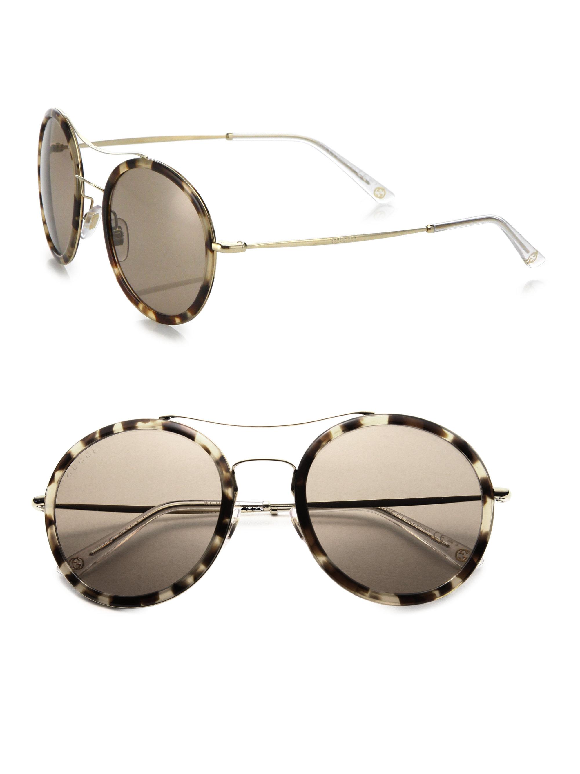 Round Gucci Sunglasses  gucci 53mm round sunglasses in metallic lyst
