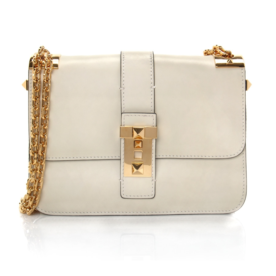 Valentino Chain-Strap Leather Shoulder Bag in White | Lyst