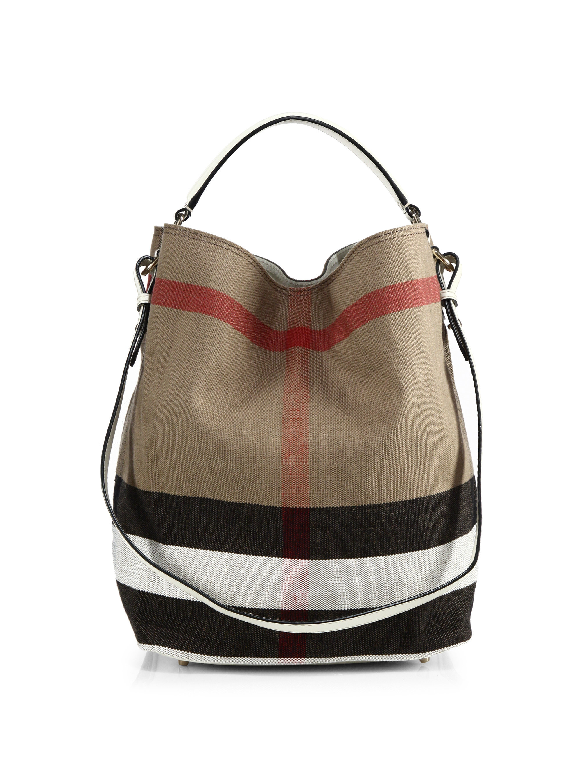 50158e70f51c Lyst - Burberry Ashby Medium House Check Canvas Shoulder Bag in Natural