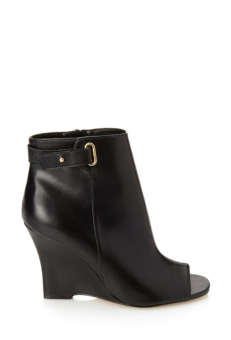 Black Leather Peep Toe Wedge Shoes