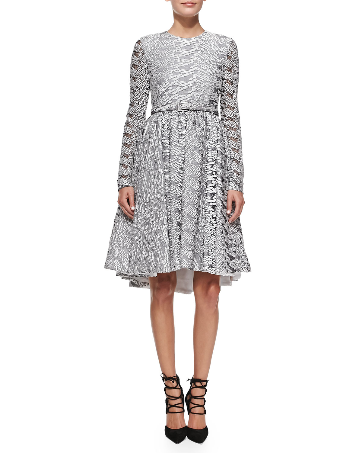 Christian Siriano Reptile Lace Cocktail Dress In Metallic