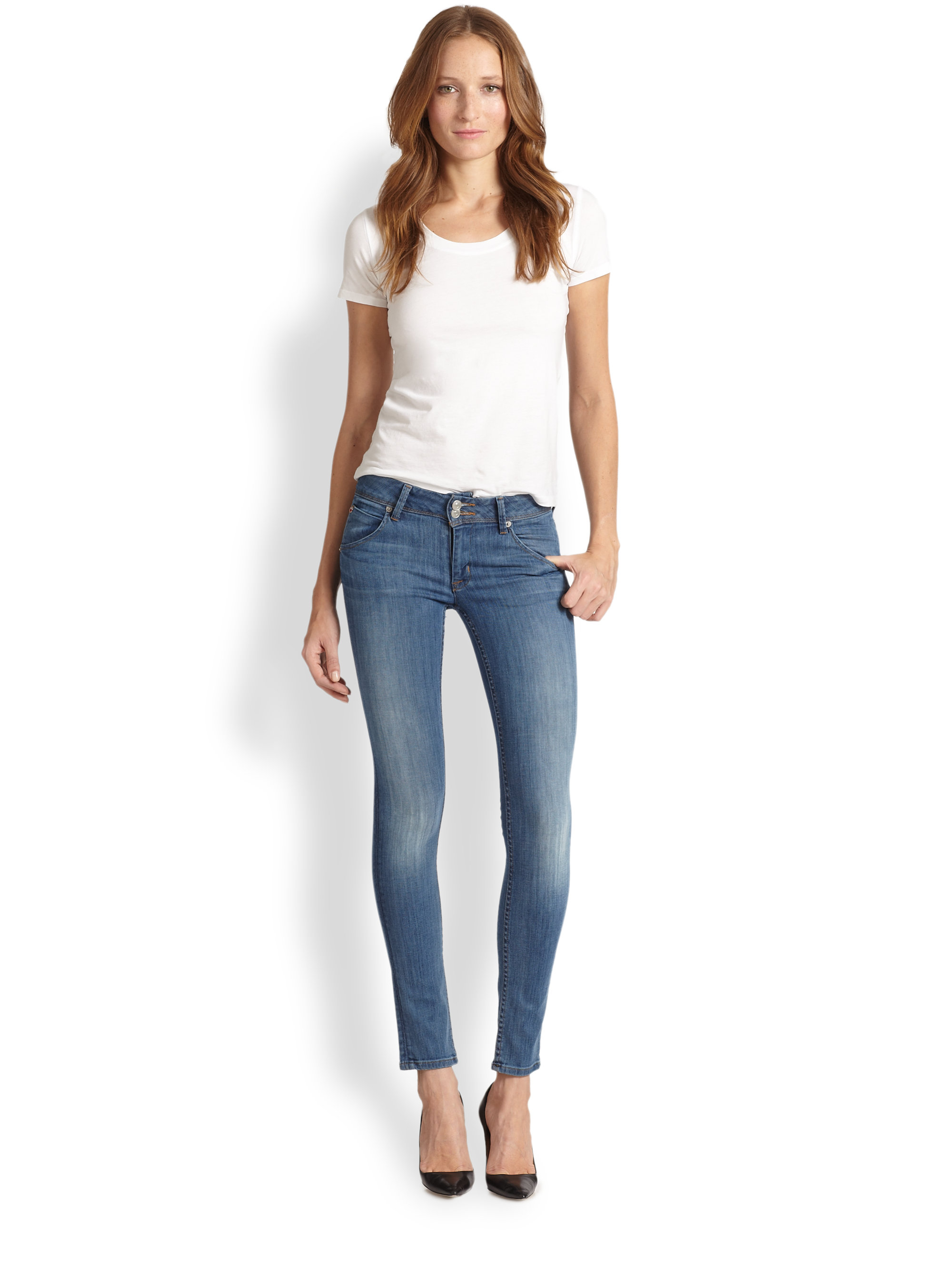 Hudson jeans Collin Super Skinny Stretch Jeans in Blue | Lyst