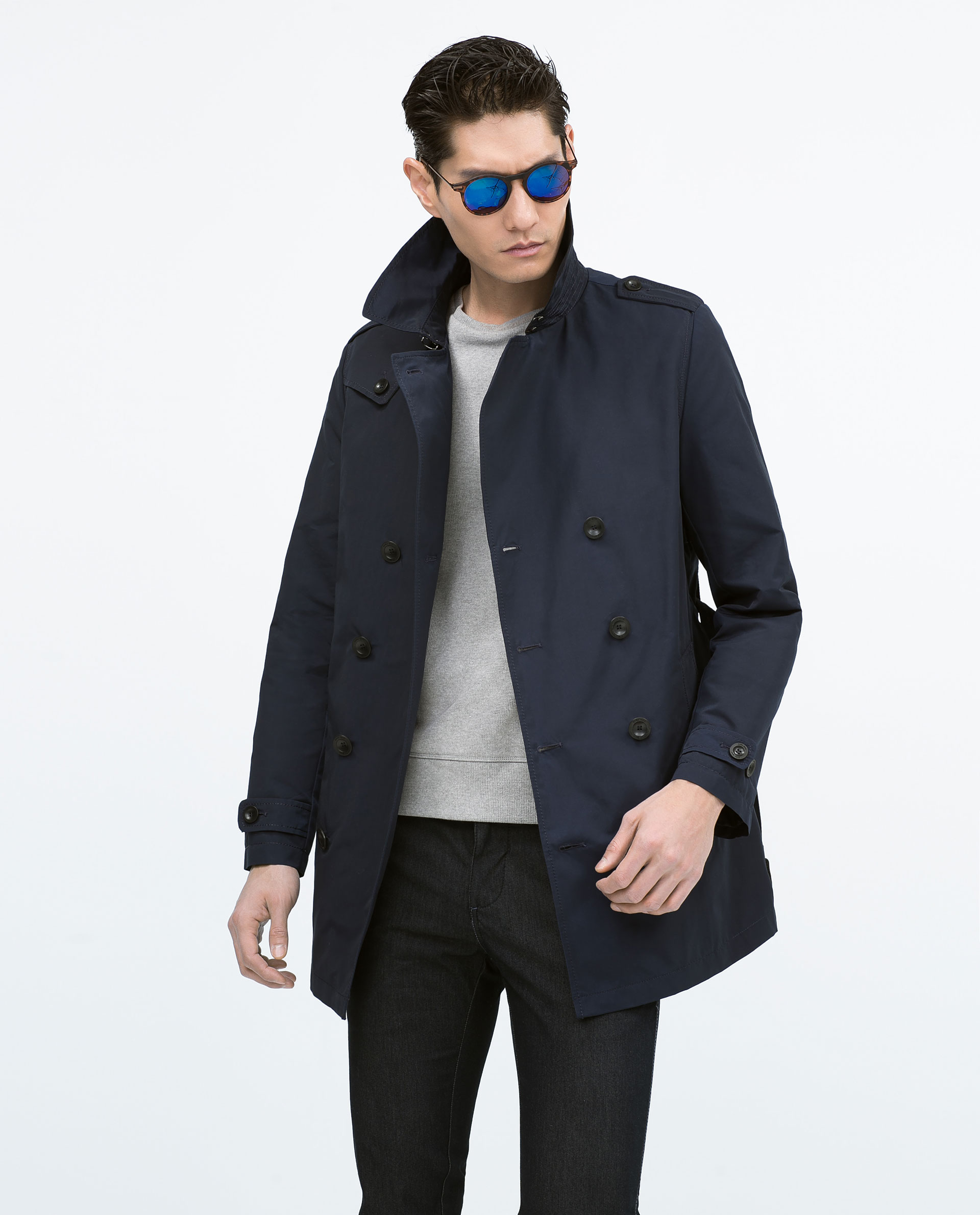 long or short outerwear for men Layer up in fashionable men's outerwear this season. Stay warm and stylish in double breasted coats, trench coats and other versatile outerwear in an assortment of fabrics.