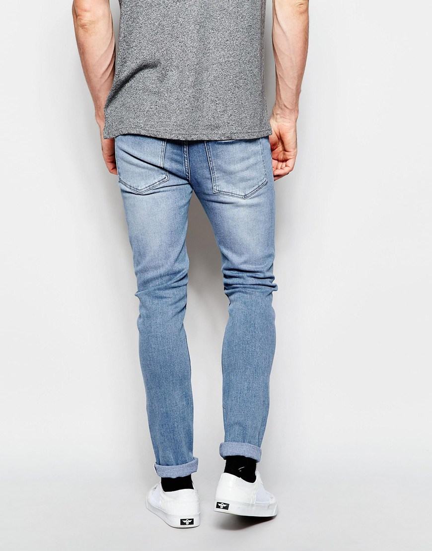 638d110d50a Cheap Monday Jeans Tight Skinny Fit Stonewash Blue Ripped Knee in ...