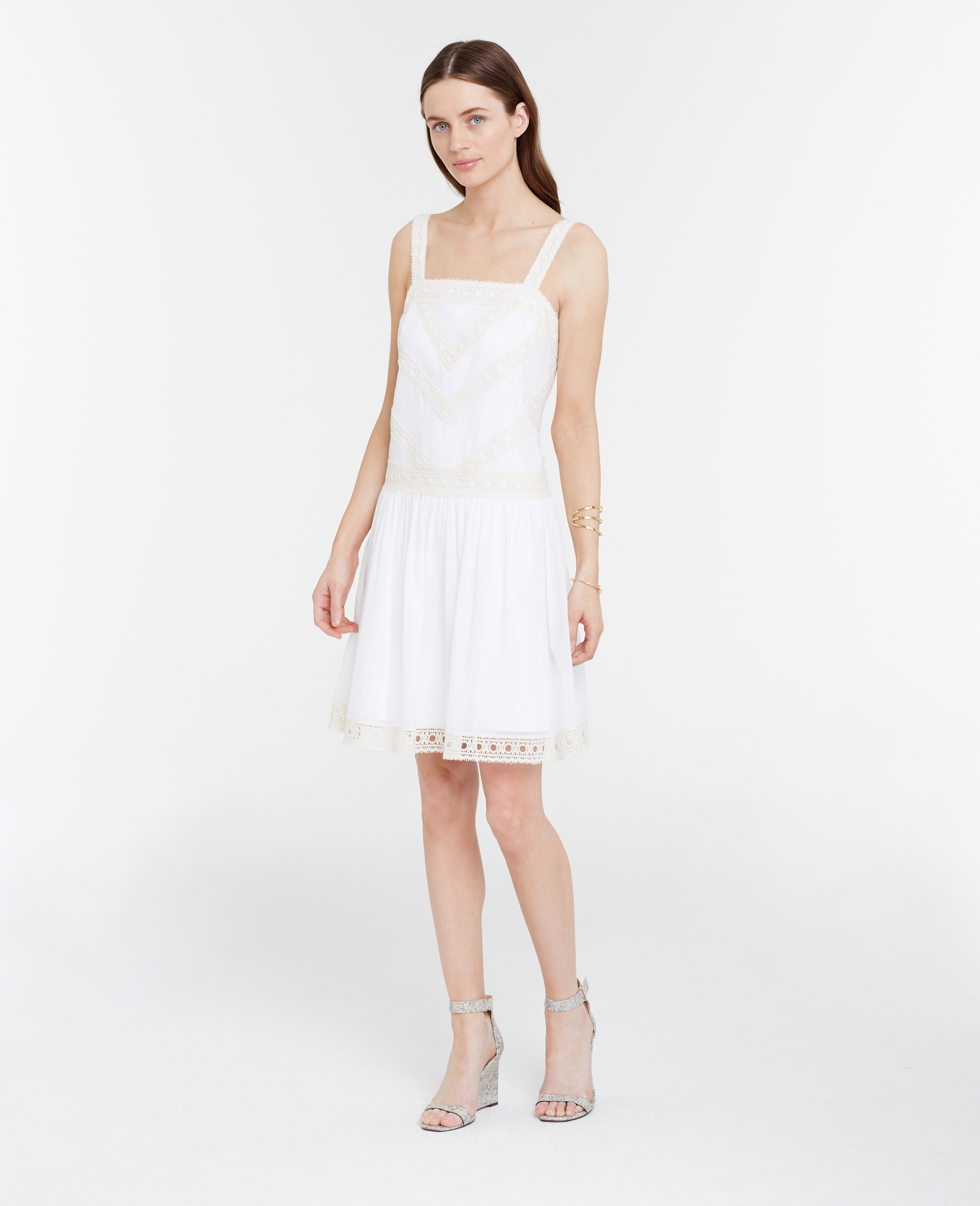 Lyst - Ann Taylor Embroidered Drop Waist Dress in White