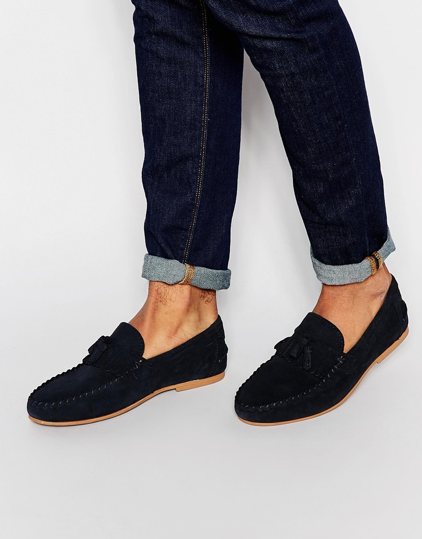 20dfa8a1636 Lyst - ASOS Tassel Loafers In Navy Suede With Fringe in Blue for Men