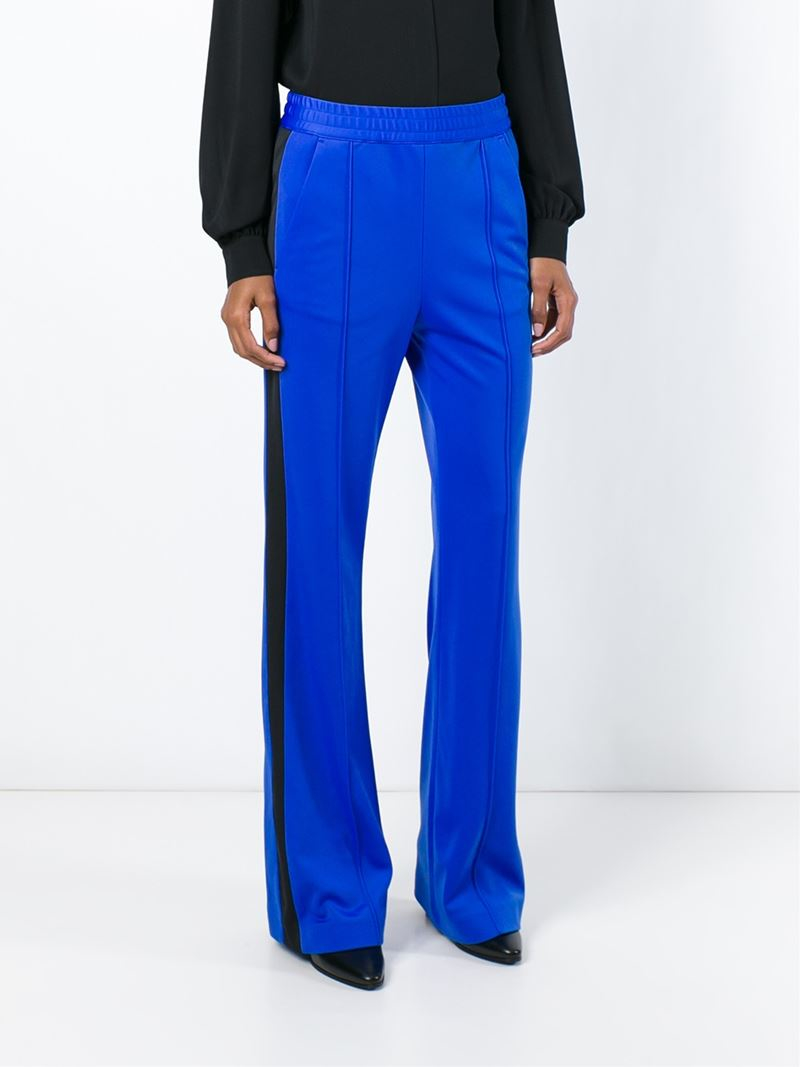 Msgm Side Stripe Wide Leg Track Pants In Blue Lyst