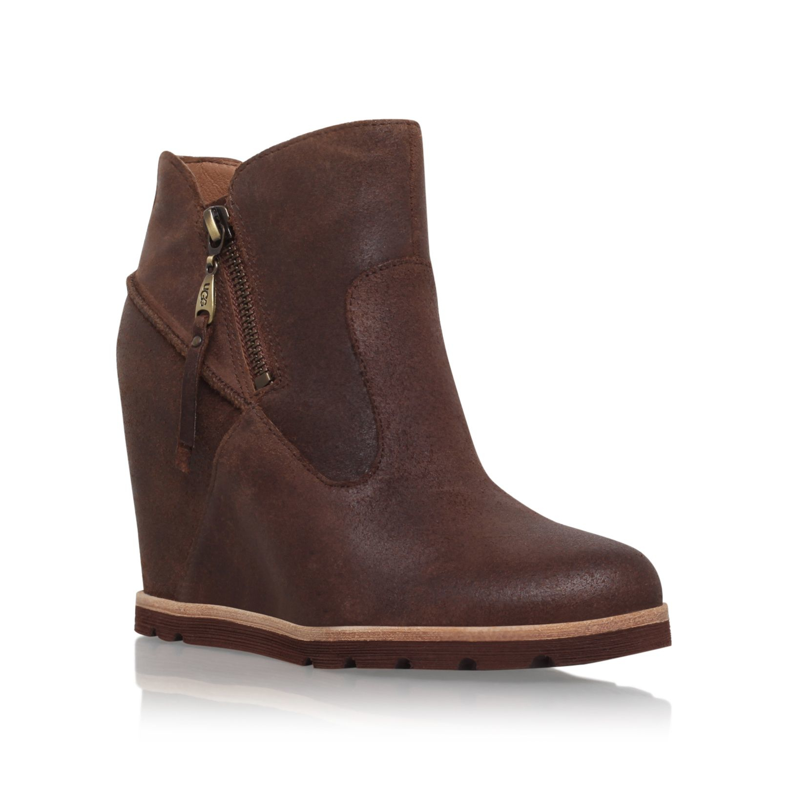 Ugg Myrna Wedge Heel Ankle Boots in Brown | Lyst