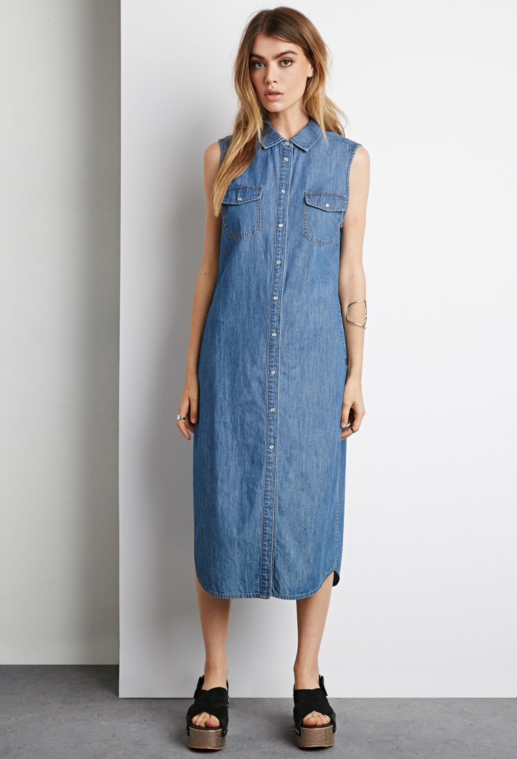 95e12868 Forever 21 Denim Button-down Midi Dress You've Been Added To The ...