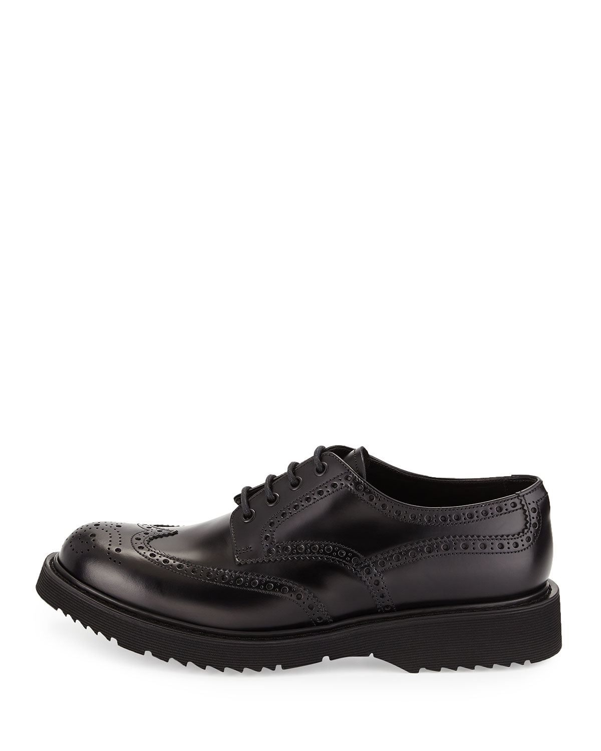 Prada Rubber Sole Wing Tip Derby Shoes In Black Lyst