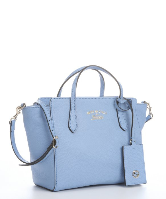 2976ac381602 Lyst Gucci Light Blue Leather Mini Swing Top Handle Bag In