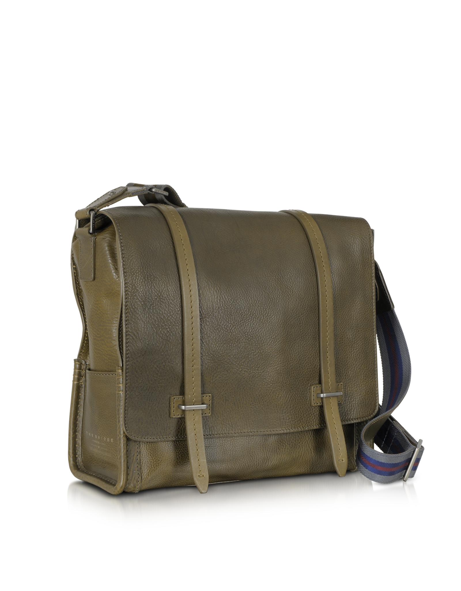 ed35eba5fd8 Lyst - The Bridge Ascott Large Olive Green Leather Messenger Bag in ...