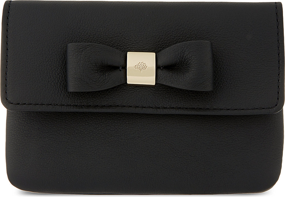 f256cfee9f ... pink lyst fe8c1 bc855 discount code for mulberry bow silky leather  double coin purse in black lyst 510cb 29eda ...