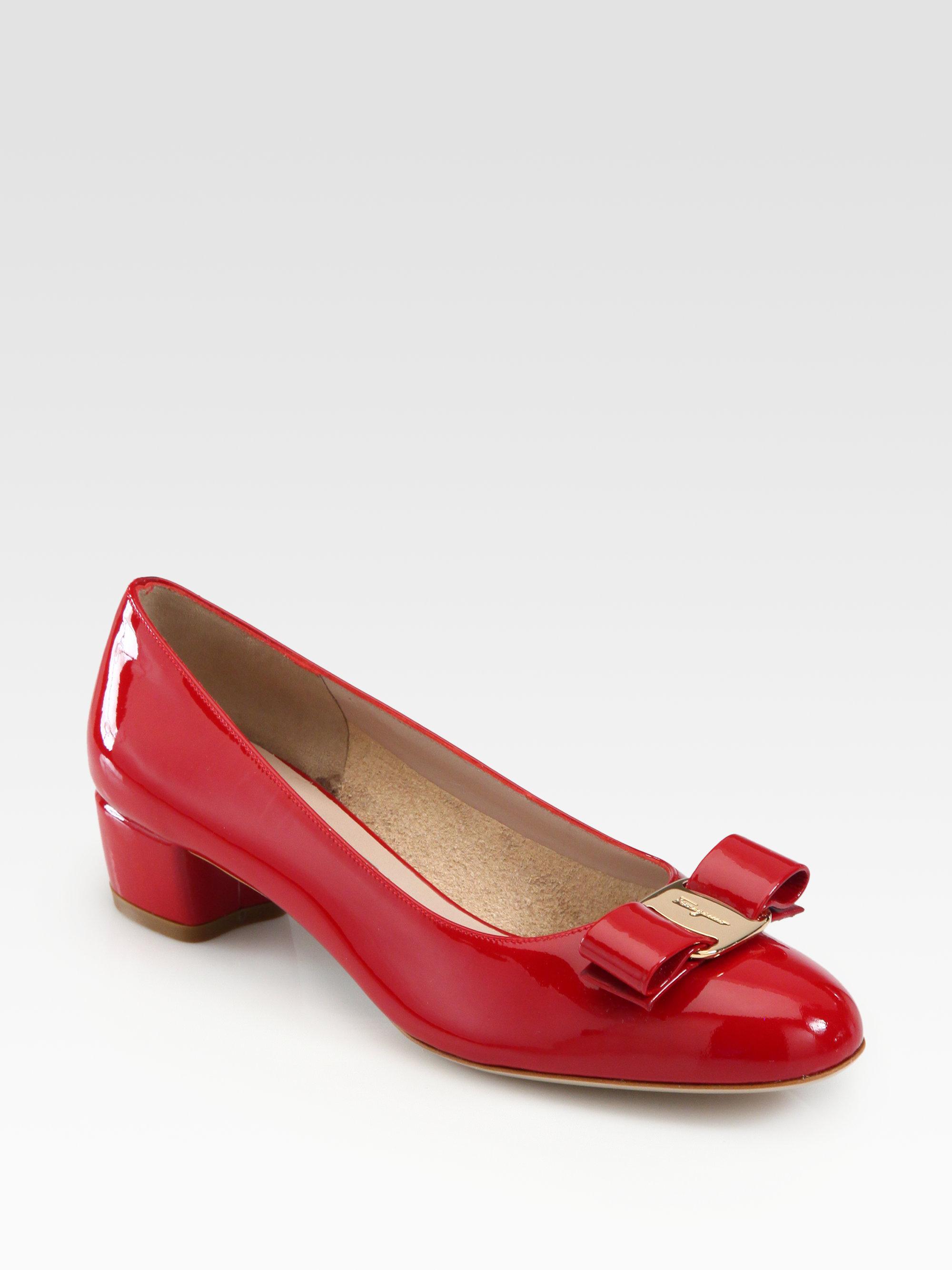 8e26768a0dc0 Lyst - Ferragamo Vara Patent Leather Pumps in Red