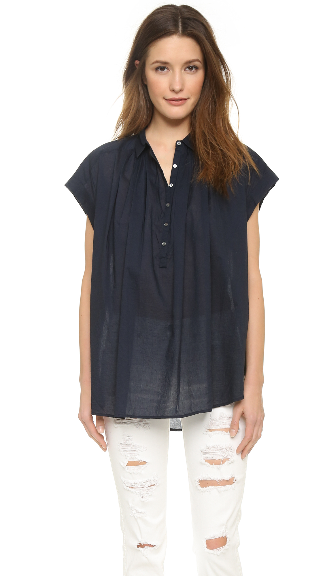 Womens Navy Blue Short Sleeve Blouse 26