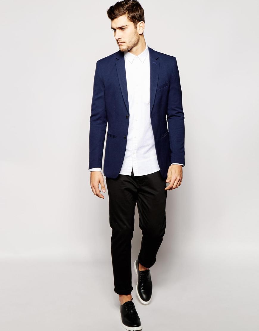 jack jones pique blazer in slim fit in blue for men. Black Bedroom Furniture Sets. Home Design Ideas