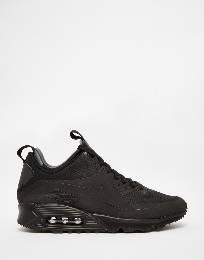 nike air max 90 winter mid trainer 806808 002 in black for. Black Bedroom Furniture Sets. Home Design Ideas