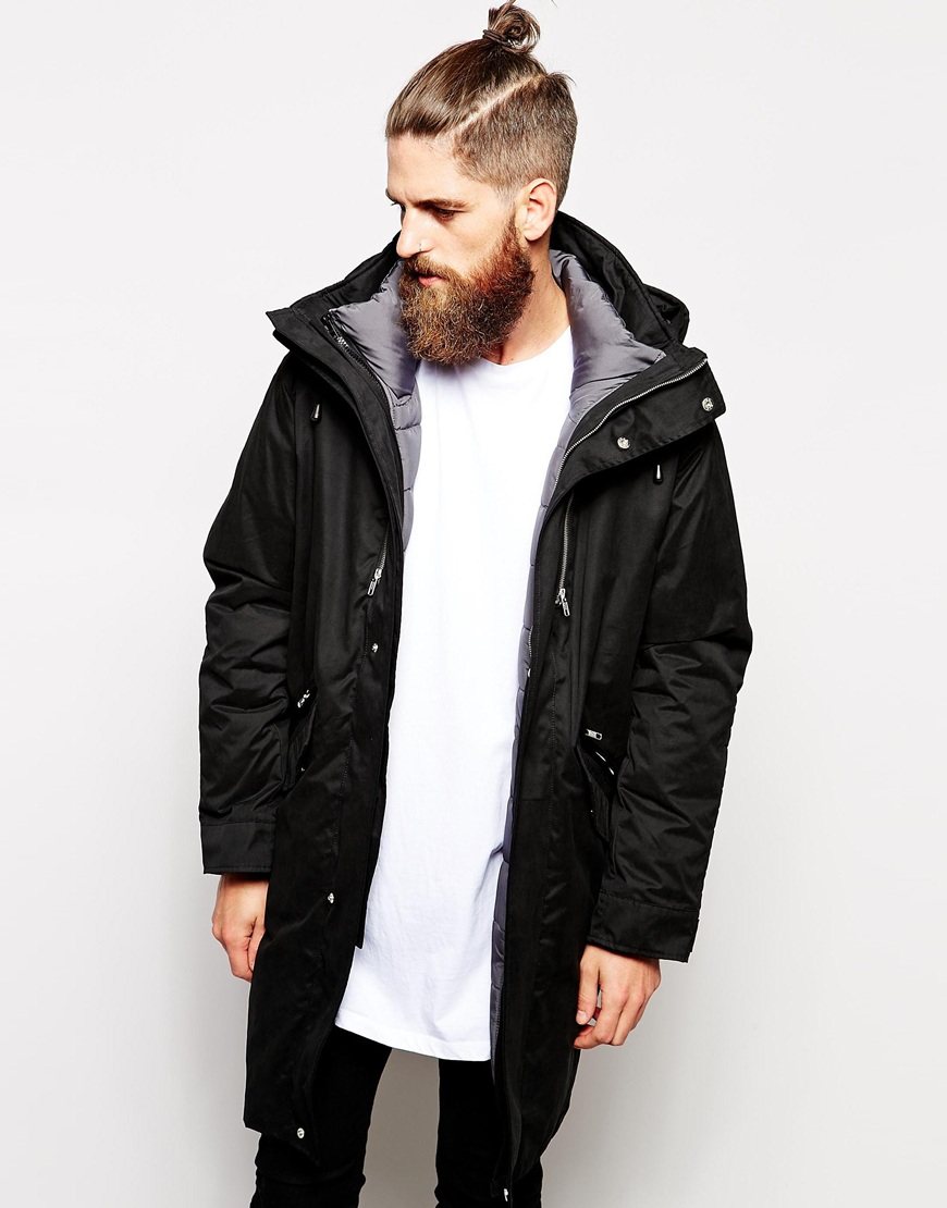 asos 2 in 1 longline parka jacket in black for men lyst. Black Bedroom Furniture Sets. Home Design Ideas