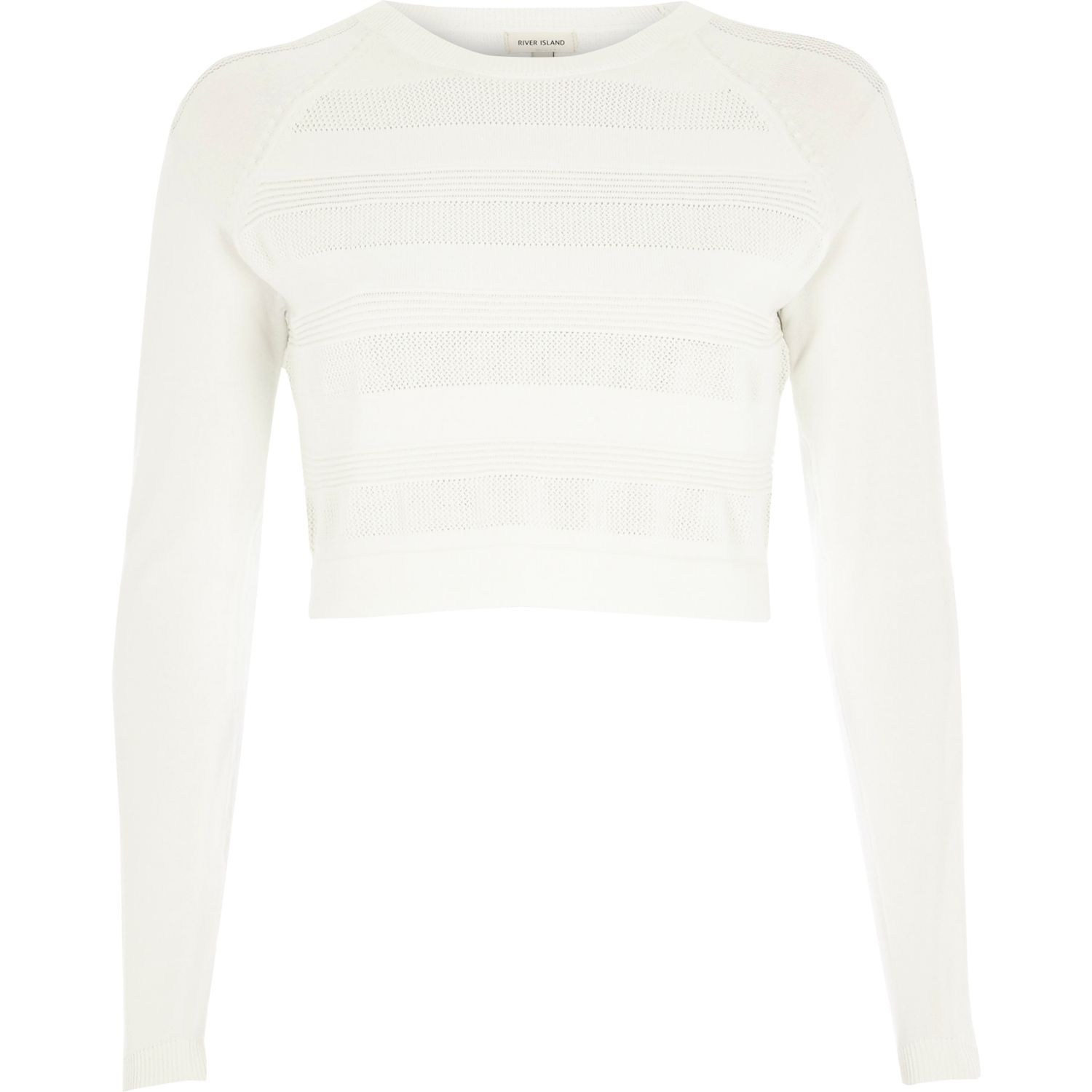 70ee9c014e9 River Island White Ripple Mesh Knitted Crop Top in White - Lyst