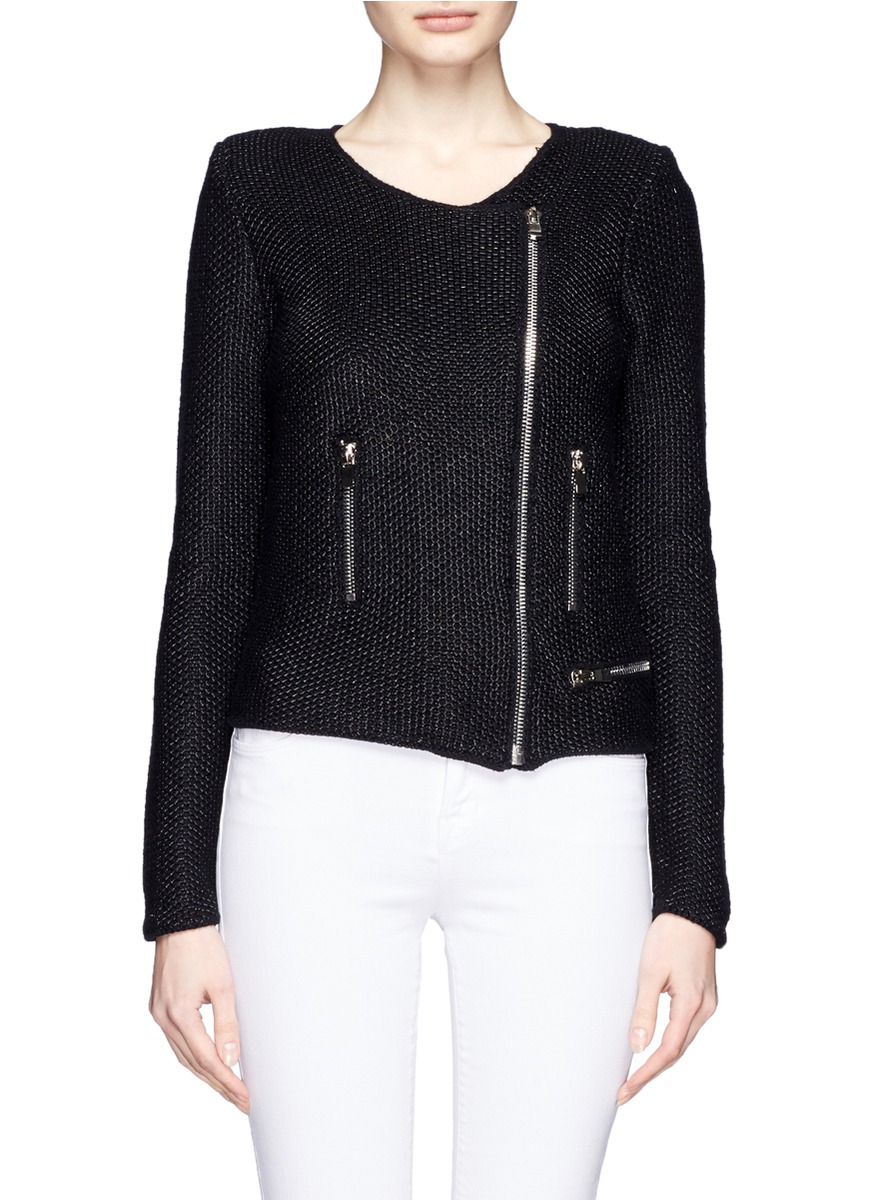 Maje Knitted Biker Jacket in Black Lyst