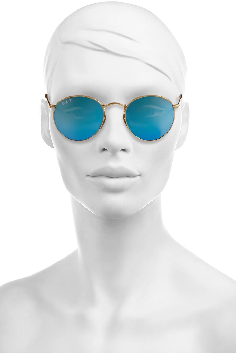 b3da414201 Ray-Ban Round-Frame Gold-Tone Polarized Mirrored Sunglasses in ...