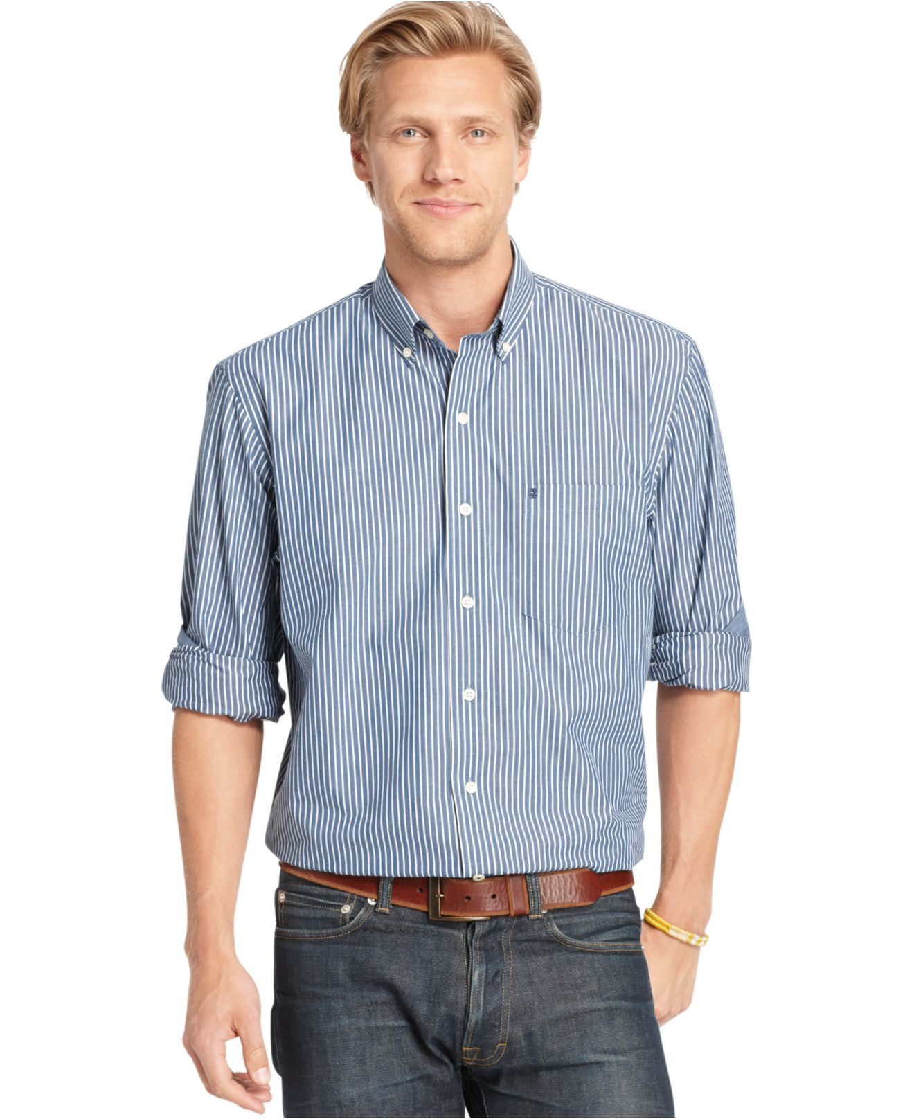 Izod big and tall long sleeve striped shirt in blue for for Izod big and tall shirts