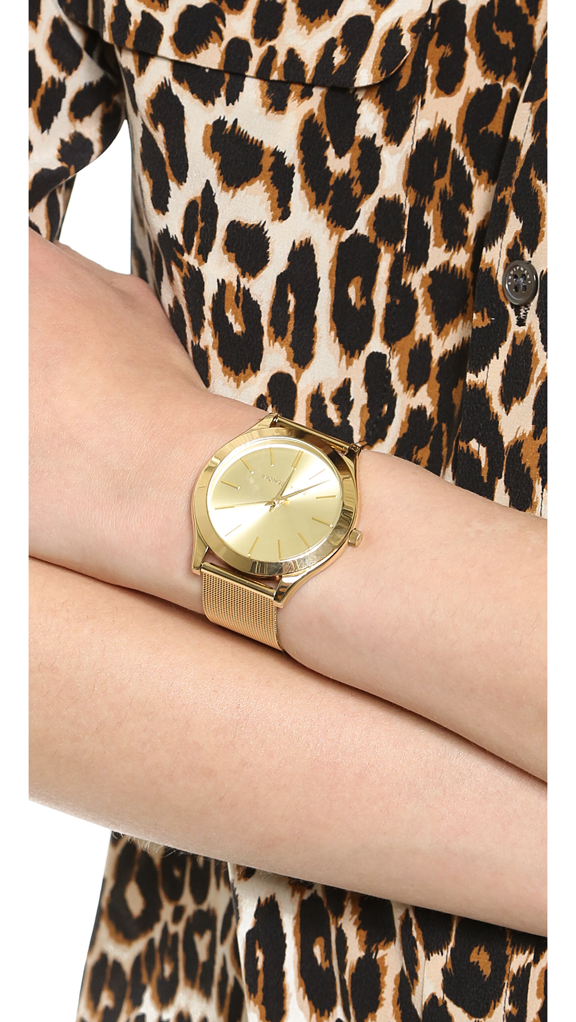 Lyst Michael Kors Vintage Glam Slim Runway Watch Gold In