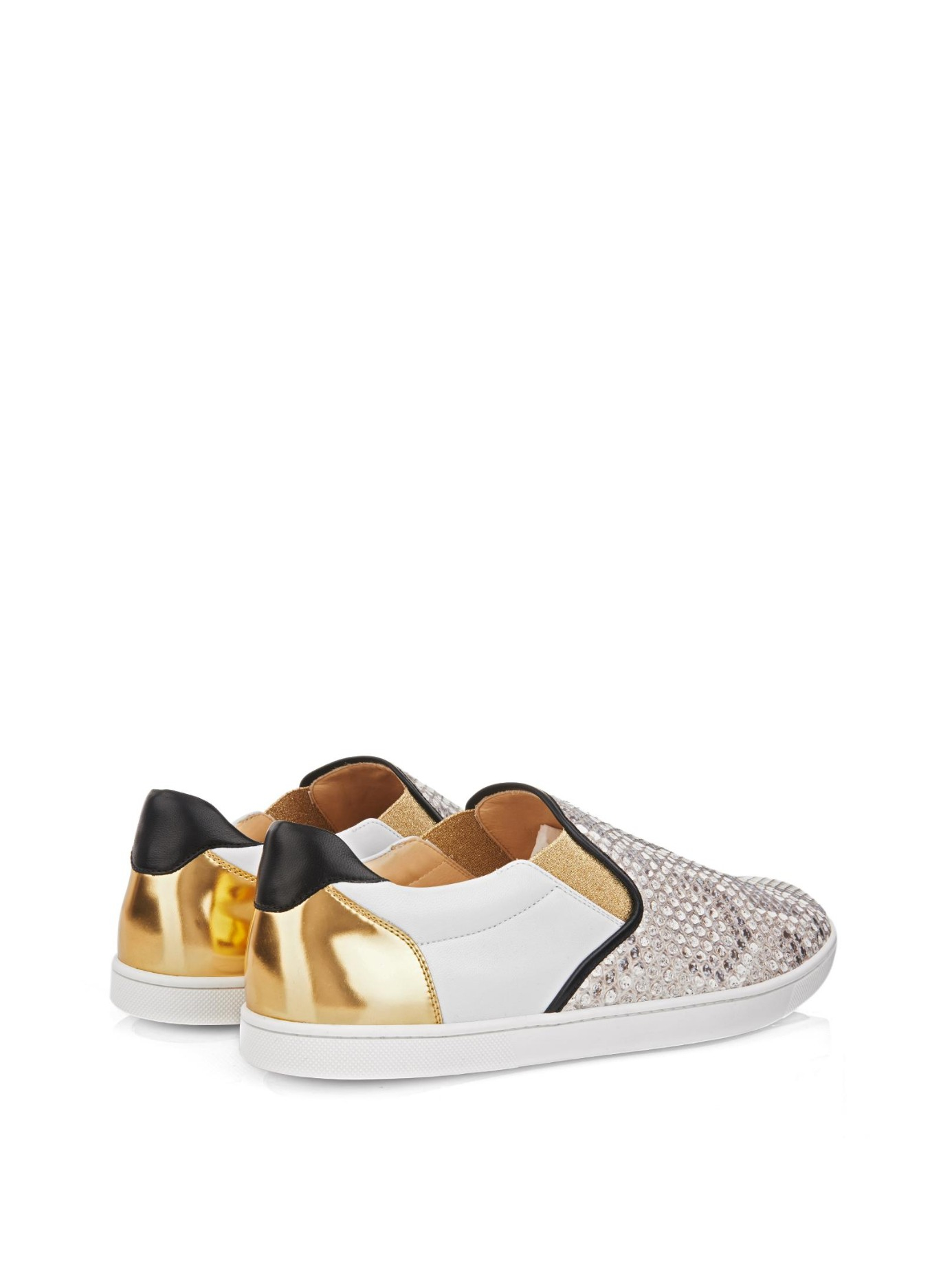 Christian louboutin Sailor Python And Leather Skate Shoes in Gold ...