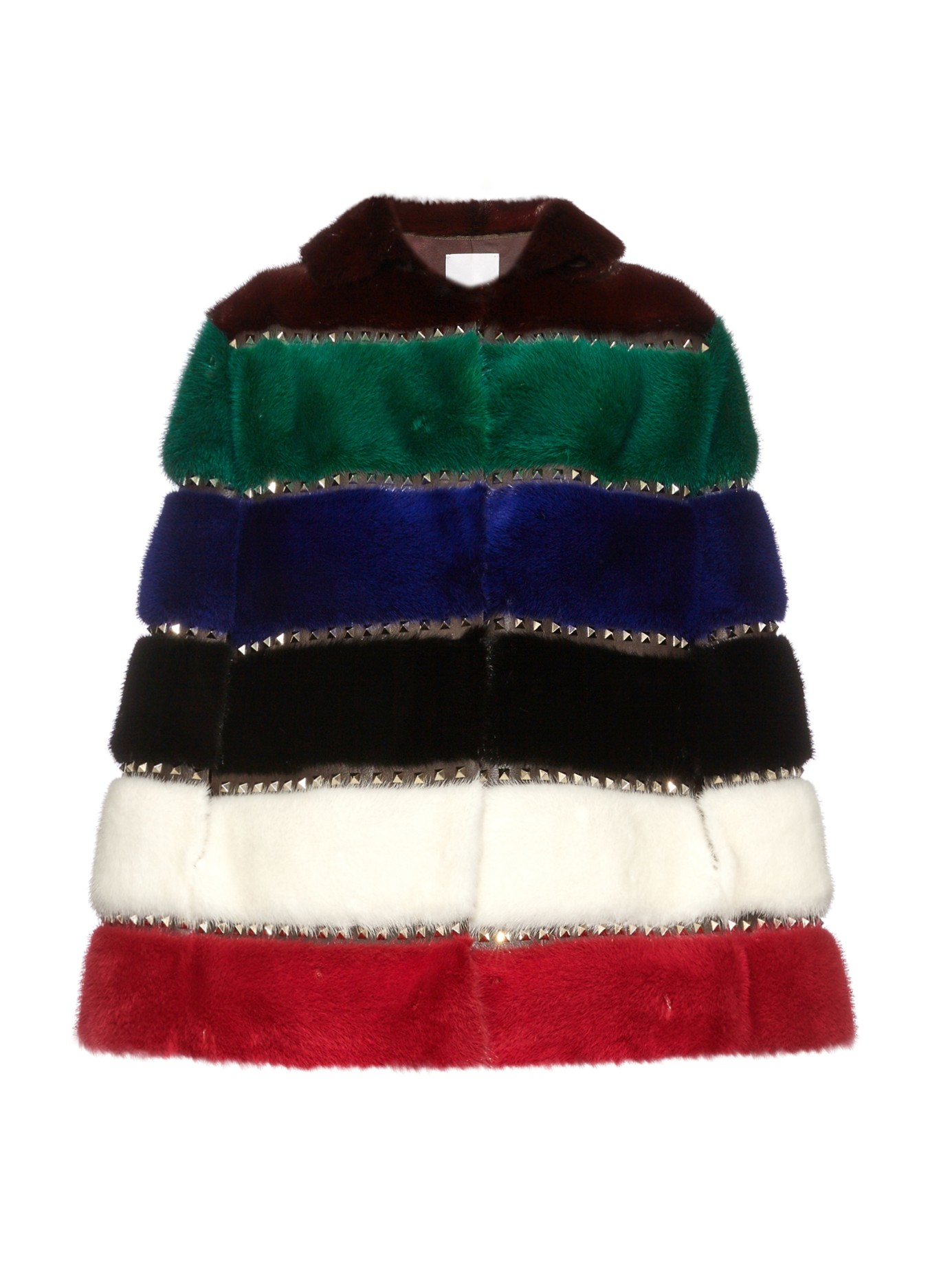 Valentino Rainbow Stripe Rockstud Fur Cape Lyst