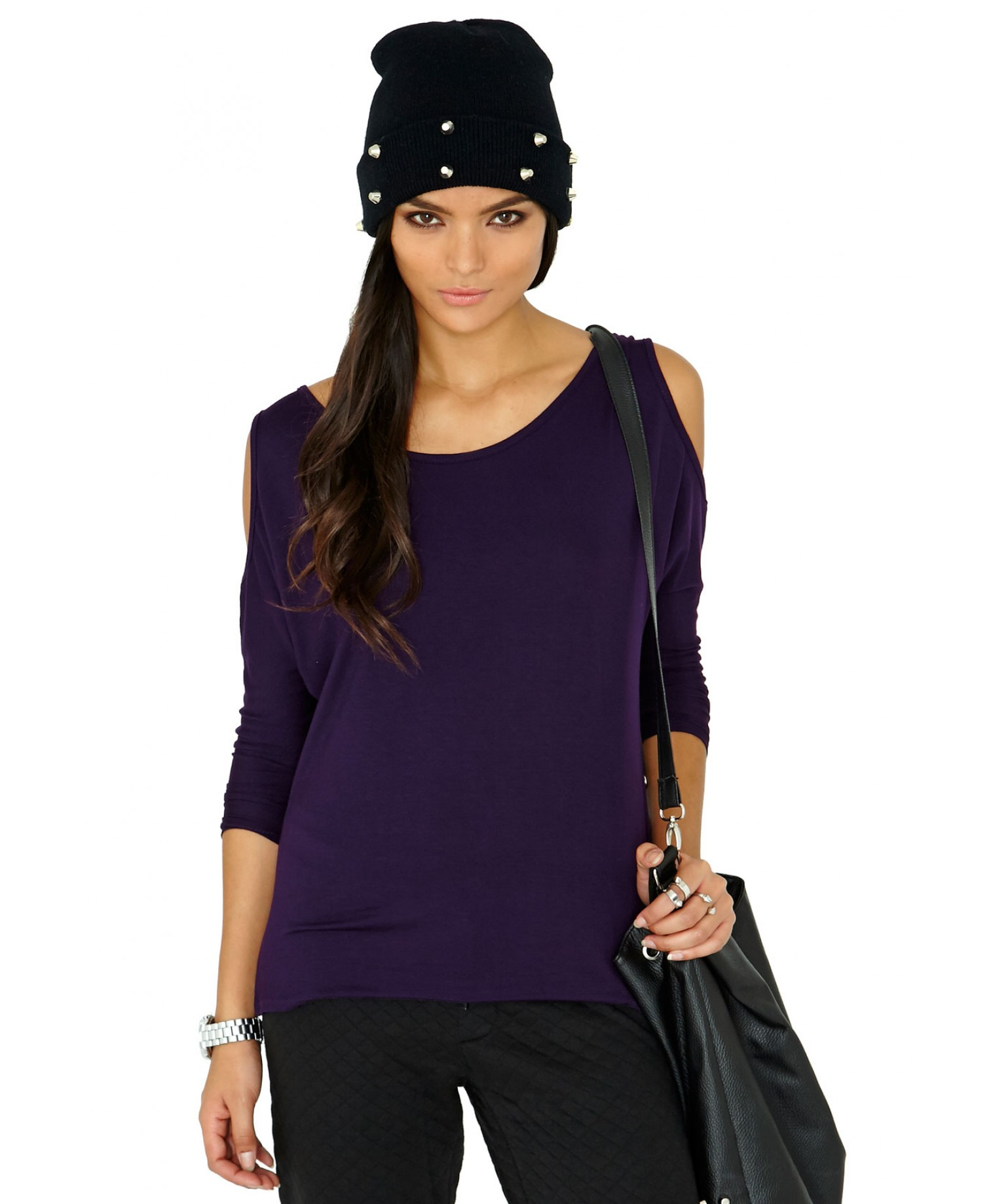 7460c35f32360b Lyst - Missguided Laile Cut Out Shoulder Top in Purple in Purple