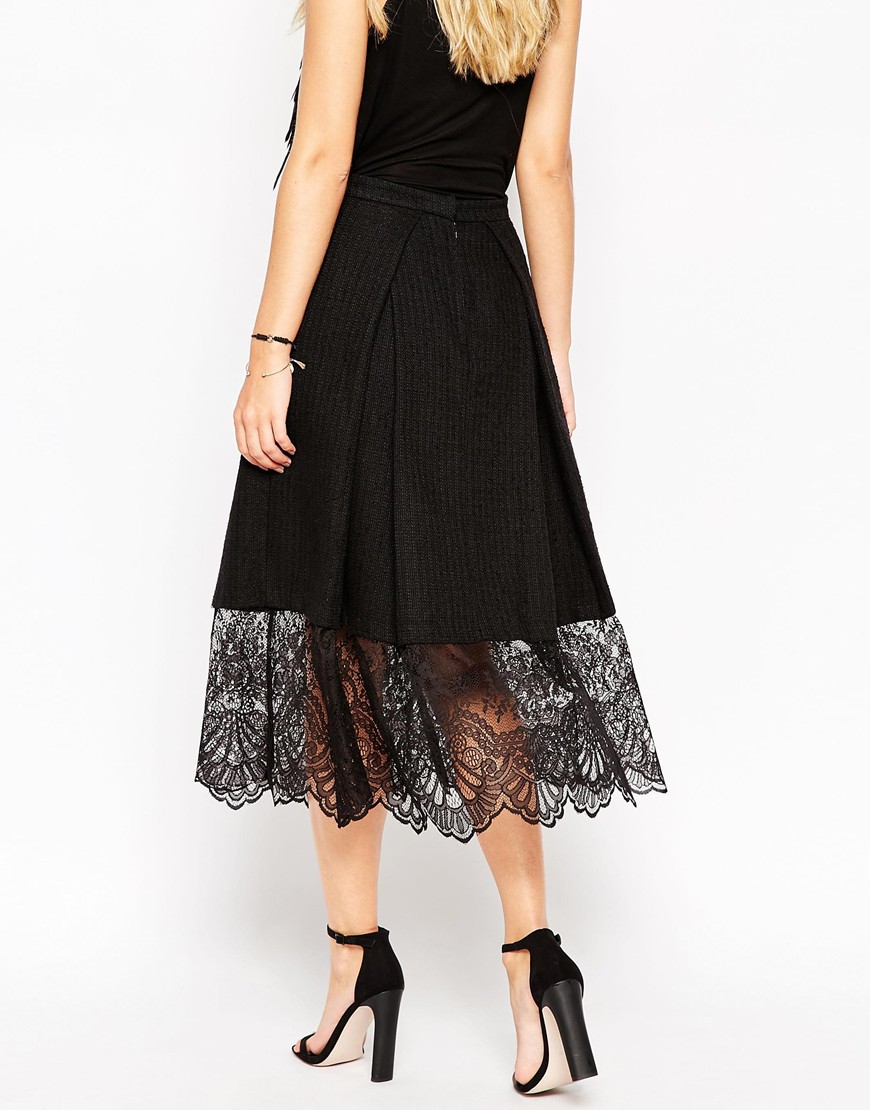 asos midi skirt in texture with lace hem in black lyst