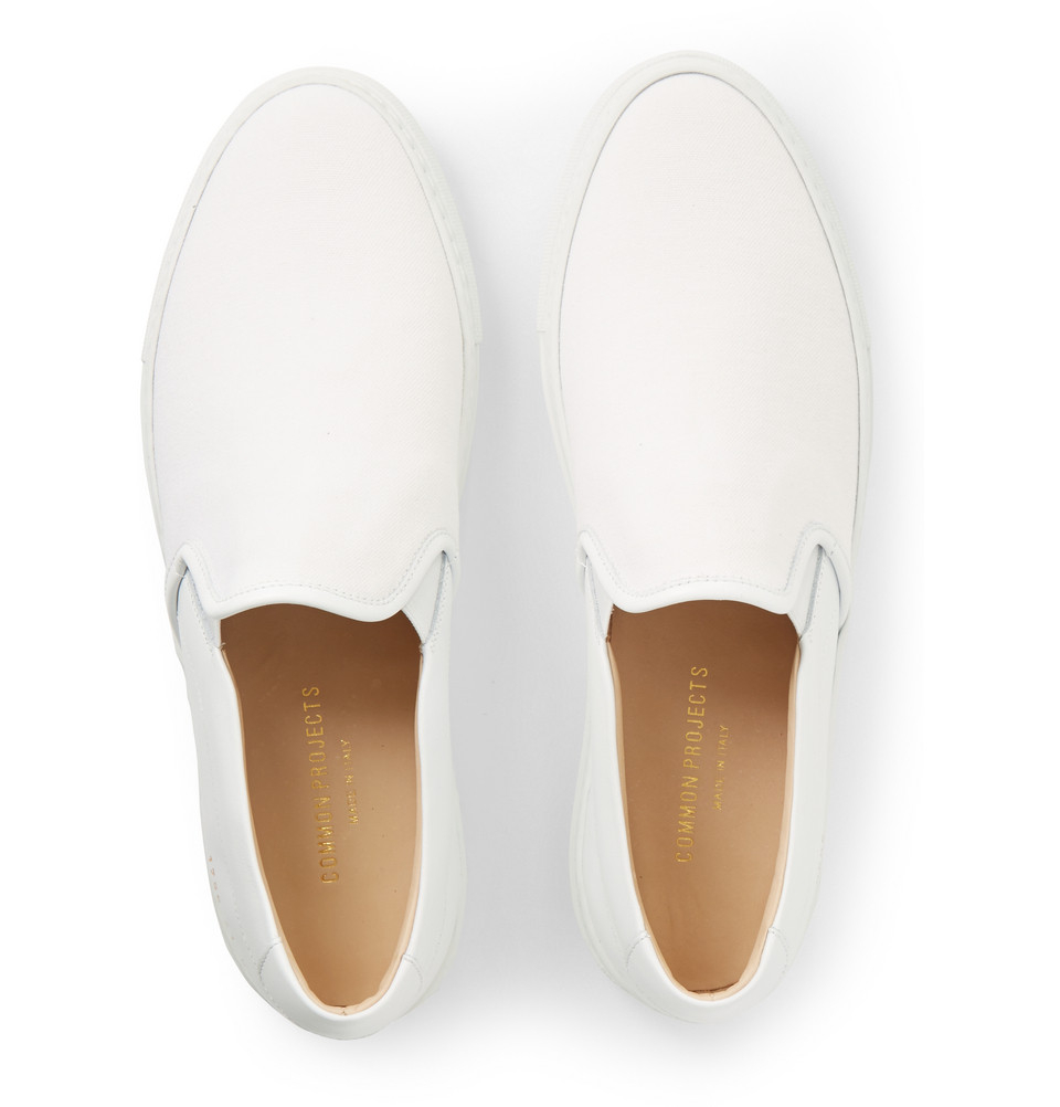 82cd6e1b5a3f Common Projects Leather And Canvas Slip-On Sneakers in White for Men ...