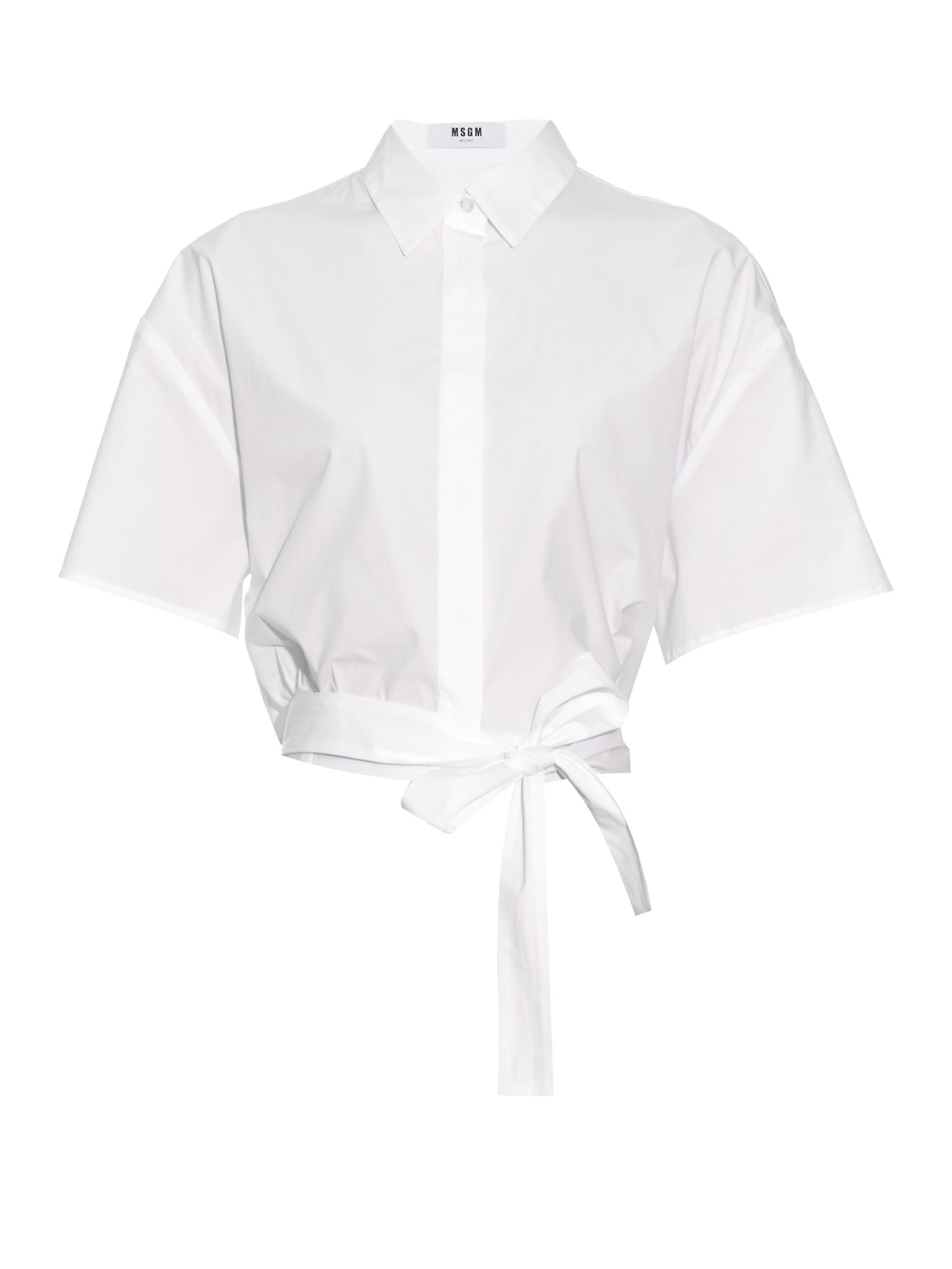 Msgm Tie Front Cropped Cotton Shirt In White Lyst