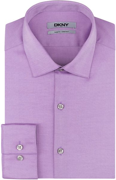 Dkny slim fit natural stretch dress shirt in purple for for Royal purple mens dress shirts