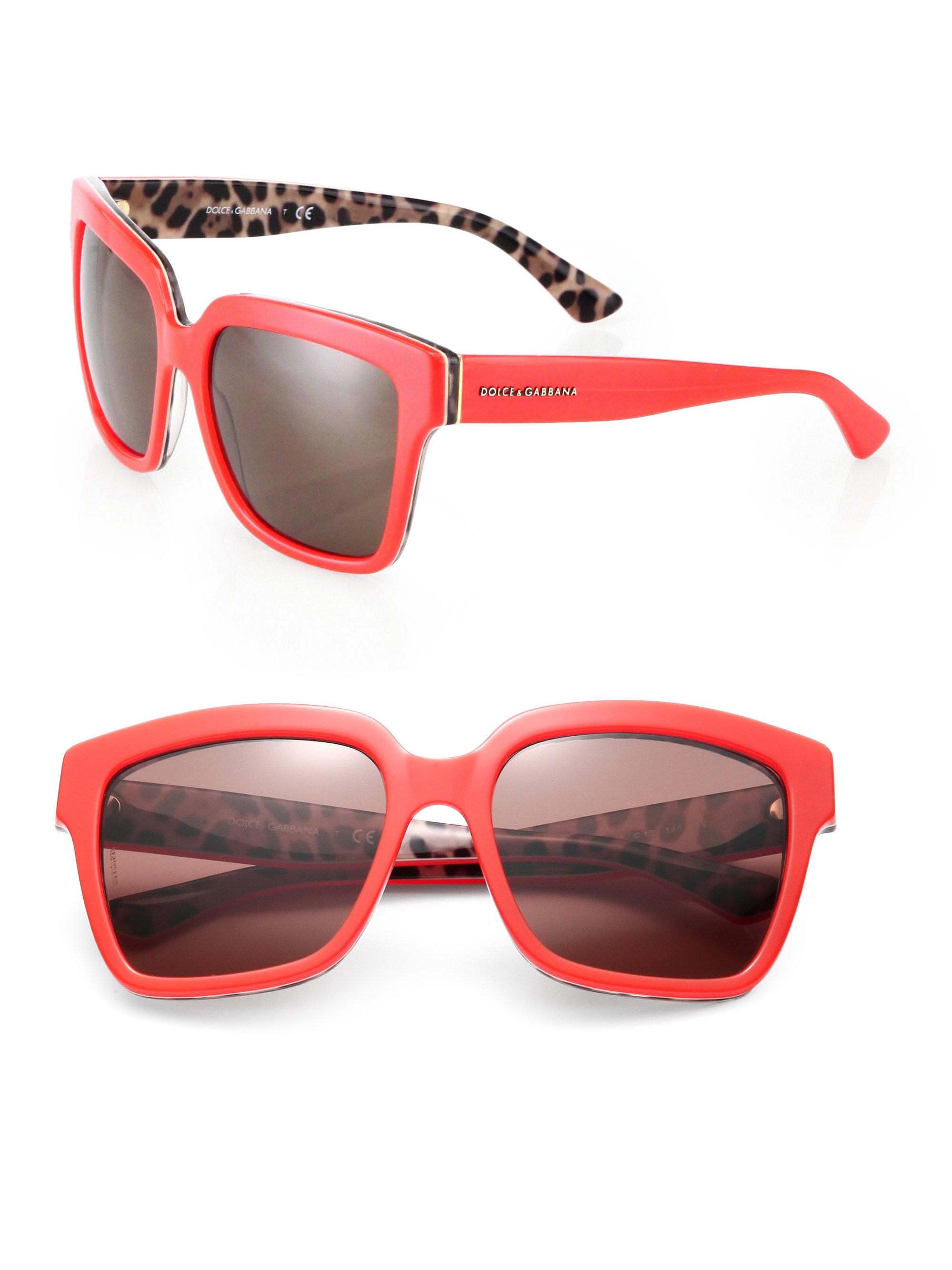 4a4aaf637e8f Lyst - Dolce   Gabbana Leopard Print-Trimmed 57Mm Square Sunglasses ...