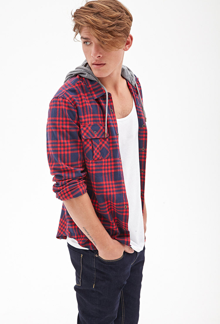 Lyst - Forever 21 Flannel Hoodie Jacket In Red For Men